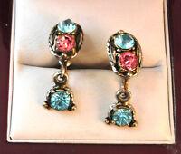 Vintage Pink Blue Glass Rhinestone Silver tone Dangle Screw back Earrings 1b 38