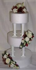 wedding flowers ivory & burgandy roses cake 3 tier topper