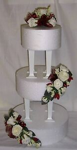 beautiful wedding flowers ivory & burgandy roses cake 3 tier topper