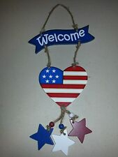 WELCOME AMERICANA HEART FLAG AND 3 STARS DOOR HANGER WOODEN