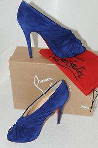 Neuf CHRISTIAN LOUBOUTIN Manchon 120 Royal Bleu Pompe Bottines Chaussures Bottes