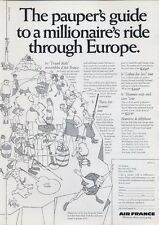 1969 Air France Airlines 'Pauper's Guide to a Millionaires Ride Europe' PRINT AD