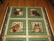"Wildlife Bear Moose Fox Wolf By Cranston VIP 100% Cotton Fabric 45"" W BTY"