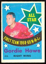 1969 70 OPC O PEE CHEE 215 GORDIE HOWE EX+ DETROIT RED WINGS HOCKEY ALL STAR