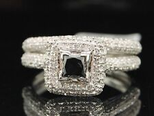 Ladies 14K White Gold Princess Cut Black Diamond Engagement Ring Bridal Set