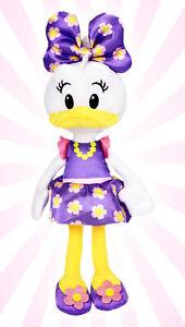 "Disney Junior Purple Flower Dress Daisy Duck 11"" Bean Plush Toy w/ Bow NEW"