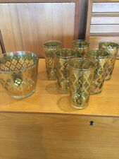 7 pc LOT of Valencia Culver Glasses Ice Bucket Vintage Gold Signed Green Diamond