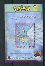 Guyana 2000 MNH Pokemon #114 Horsea Seasons Greetings 1v S/S Nintendo Stamps