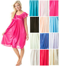 Casual Nights Women's Satin Lace Cap Sleeve Embroidered Night Gown