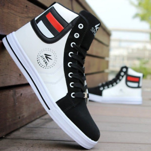 New Wholesale 2021 Fashion Men's High Top Sneakers Casual Lace Up Shoes Hot 1-08