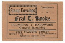 1890s Stamp Envelope with Advertising for Fred Knowles Hardware San Francisco CA