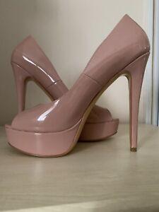 Onlymaker Nude Patent Pink Peep Toe Platform Stiletto Heels UK 10 EU 43