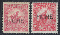 Italy Fiume 1918 Definitive type I and II, MH