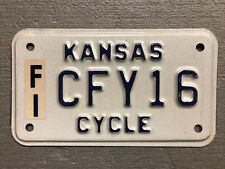 VINTAGE KANSAS MOTORCYCLE LICENSE PLATE WHITE/BLUE CFY16 NICE!!!