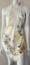 "ANTHROPOLOGIE VERA NEUMANN Silk Scarf ""Fans""Print Bias Cut SEXY HALTER DRESS P/S"