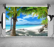 10x8FT Summer Beach Scenery Palm Trees Seamless Vinyl Backdrop Photo Background