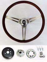 "Chevelle Nova Camaro Impala Wood Steering Wheel Low Gloss Grip 15"" SS Center cap"