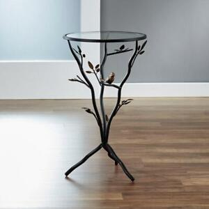 """Aged Bronze Bird and Branches Tripod Side Glass Tabletop Accent Table, 24""""H x14"""""""