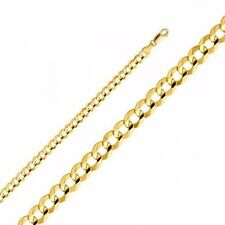 14k Yellow Gold Hollow Men's 4 mm Cuban Curb Chain Necklace with Lobster Claw Cl