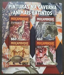 [SJ] Mozambique Extinct Animals 2016 Cave Painting Bird Pre Historic (ms MNH