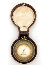Circa 1890's JJ Hicks London England Pocket Barometer Altimeter w/ Case! 168