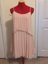 BCBG Sleeveless Sunburst High/Low Pleated Dress - Rose Smoke - Size XS - NWT