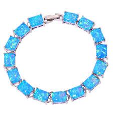 """Blue Fire Opal Silver New for Women Jewelry Gemstone Chain Bracelet 7 1/4"""" OS575"""