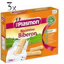 3x Plasmon Biberon Children Cookies for Baby Bottle Cake Cookies from 4 months 450gr