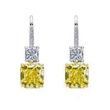 Yellow Radiant Dangle Earrings Solid 925 Sterling Silver Jewelry Women Hook Gift
