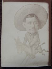 Man Riding A Donkey, Big Head Comic 1900's Arcade Photo