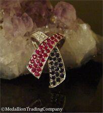 14k Gold Red White Blue USA American Flag Diamond Ruby Sapphire Ribbon Slide