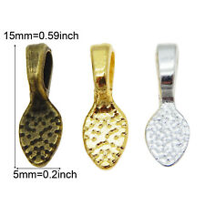 Mixed-Color Alloy Leaf Shape Glue On Bail Pendants Charms Findings 60pcs 36125