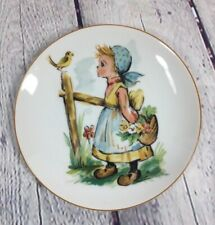 Vintage Action-Lobeco Little Girl with Basket & Bird Plate Decorative / Japan