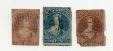 New Zealand - (3) 1857 - 1863 Chalon Heads/ No wmk/ faulty  -   Lot 0420185