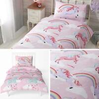 Unicorn Duvet Covers Pink Rainbow Unicorns Kids Girls Quilt Cover Bedding Sets