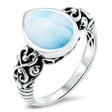 Women Men Jewelry 925 Sterling Silver Larimar Ring Fashion Wedding Gifts Sz 5-10