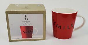 Smile Mug ED Ellen Degeneres Crafted by Royal Doulton 16.5 oz Red w/Black Detail
