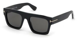 Tom Ford FT0711 711 01A Fausto Black Gold Grey Lenses Square Unisex Sunglasses