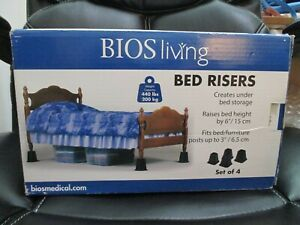 """BED RISERS BIOS LIVING  SET OF 4 NEW IN BOX 6"""" HEIGHT NEW ****FREE SHIPPING****"""