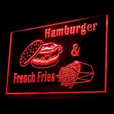 110142 Hamburger French Fries Fast Food Buns Bacon Display LED Light Sign