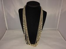 VTG. SARAH COVENTRY SHINY GOLD TONE MULTI-CHAIN 4 STRAND LONG NECKLACE