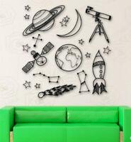 Space Wall Decals Outer Nursery Sticker Telescope Rocket Ship Stars Planet Kids
