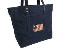 Ralph Lauren Polo Canvas American Flag Tote Bag Big Pony Embroidered -NWT