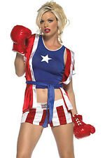 4 Piece Ladies Sexy Boxer/Boxing Costume Top Belt Shorts & Robe/Shirt Size 10