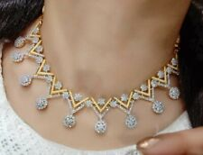 Indian American Diamond Designer Necklace Stone Gold Plated Earrings Triangle
