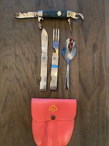 Girl Scout Camping Imperial Utensil Set w/ Case Folding Knife Fork & Pocketknife
