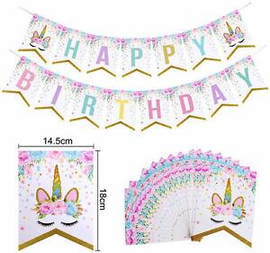 Unicorn Happy Birthday Bunting Banner - Kids Pink & Gold Girls Party Decoration