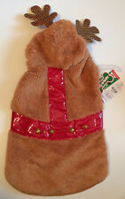 Wag-A-Tude Fuzzy REINDEER Dog Hoodie Large Petco Jacket With Rudolf Bells - New