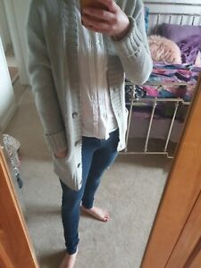 Fat Face Long Cardigan Grey Size 10