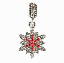 European 925 Silver Snowflake CZ Charm Beads Fit sterling Necklace Bracelet A#95